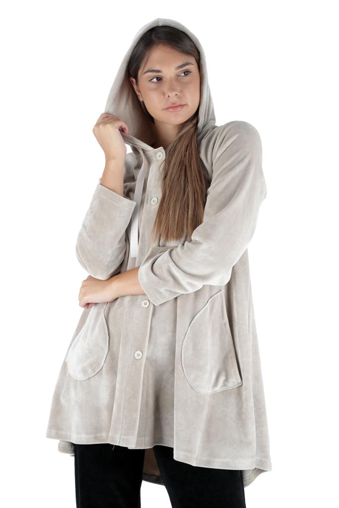Γυναικεία ρόμπα Claire Katrania - Με κουκούλα - Βελούδο Polyester