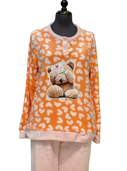 Γυναικεία Πυτζάμα Doremi - Fleece - Πορτοκαλί