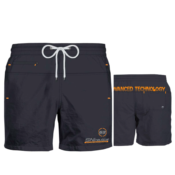 Ανδρικό Μαγιό Nautica Italiana - Ανθρακί Shorts - Σχέδιο με λογότυπο
