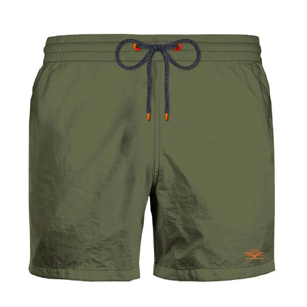 Ανδρικό Μαγιό Johnny Brasco - Χακί Shorts - Σχέδιο με λογότυπο - Plus size