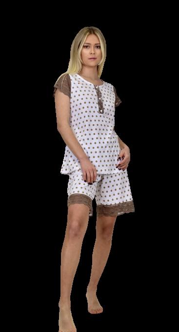 Γυναικεία πυτζάμα Miss Rodi - Kρεμ Πουά - Κοντό Μανίκι - Βερμούδα