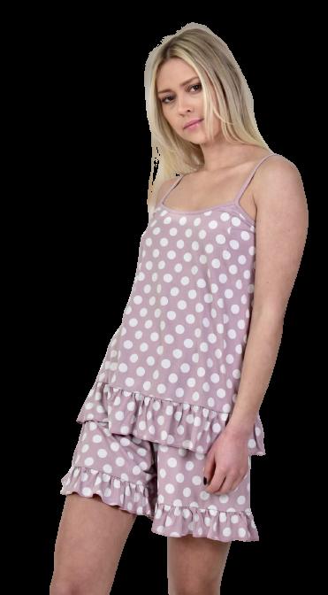 Γυναικεία πυτζάμα Miss Rodi - Nude Πουά  - Τιράντα - Βερμούδα.