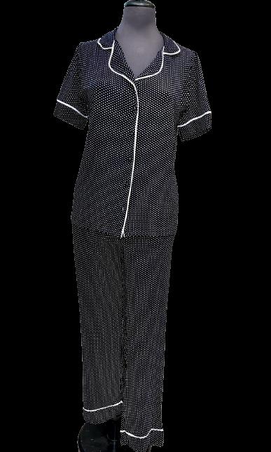 Γυναικεία πυτζάμα Miss Rodi - Μαύρο Πουά - Κοντό Μανίκι - Κουμπωτή - Μακρύ Παντελόνι