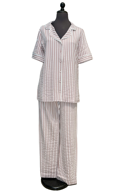 Γυναικεία πυτζάμα Miss Rodi - Kρεμ Ριγέ - Κοντό Μανίκι - Κουμπωτή - Μακρύ Παντελόνι