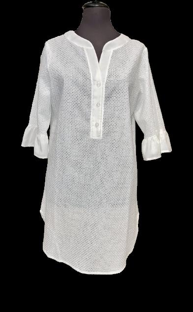 Lida Γυναικείο Beachwear - 3/4 μανίκι - Λευκό - Βαμβακερό - Μαό Γιακά