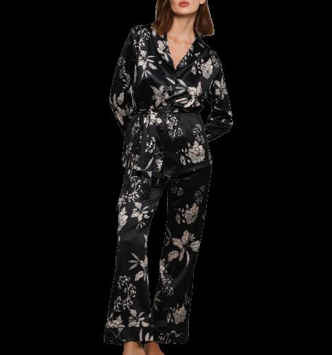 Γυναικεία πυτζάμα Lida - Μαύρο Σατέν - Floral - Homewear SetΓυναικεία πυτζάμα Lida - Μαύρο Σατέν - Floral - Homewear Set