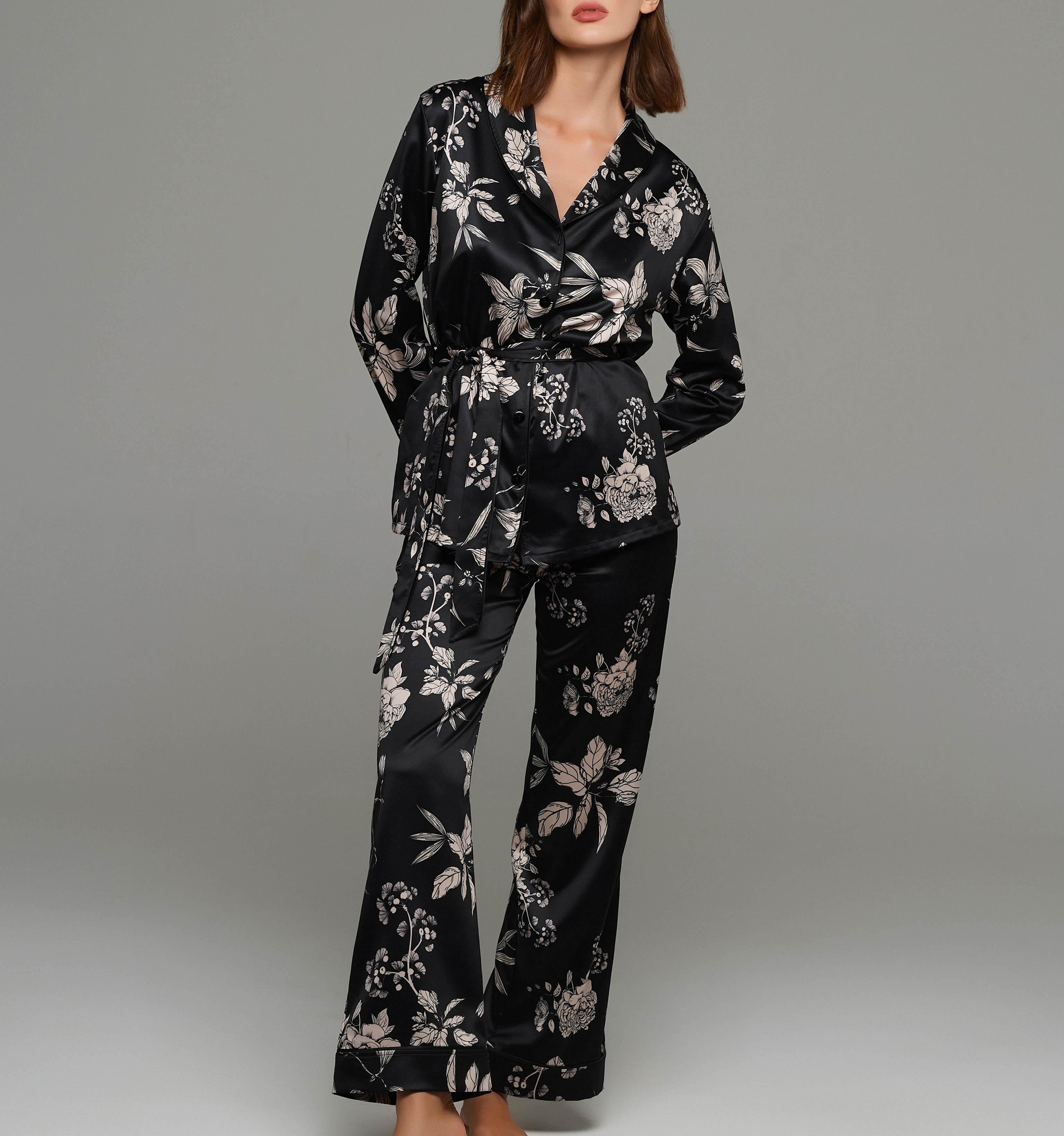 Γυναικεία πυτζάμα Lida - Μαύρο Σατέν - Floral - Homewear Set