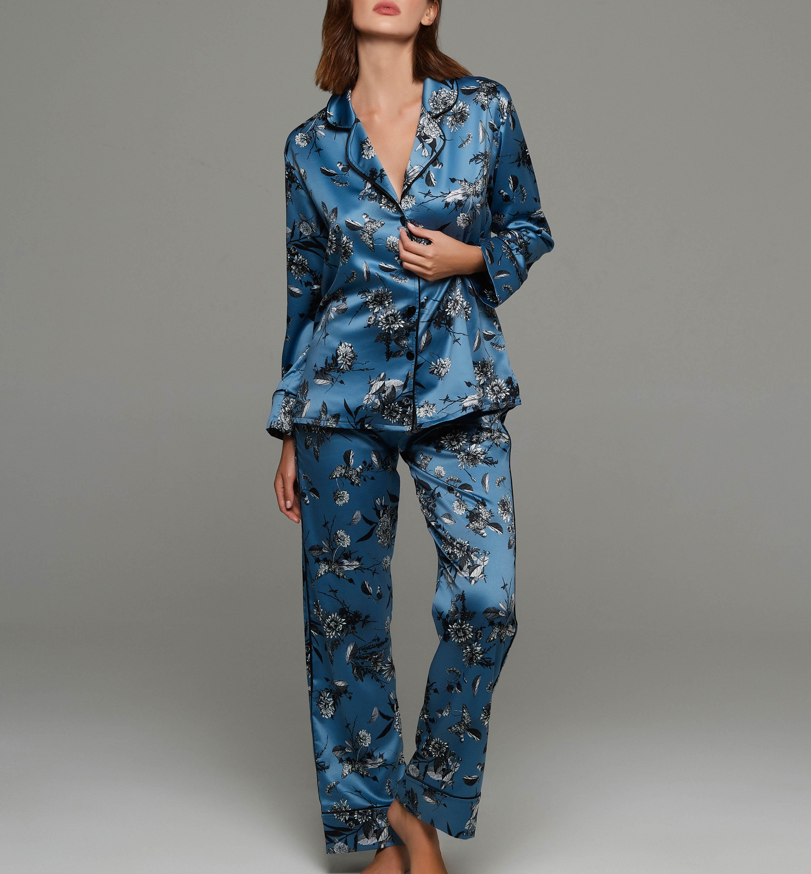 Γυναικεία πυτζάμα Lida - Μπλε Σατέν - Floral - Homewear Set