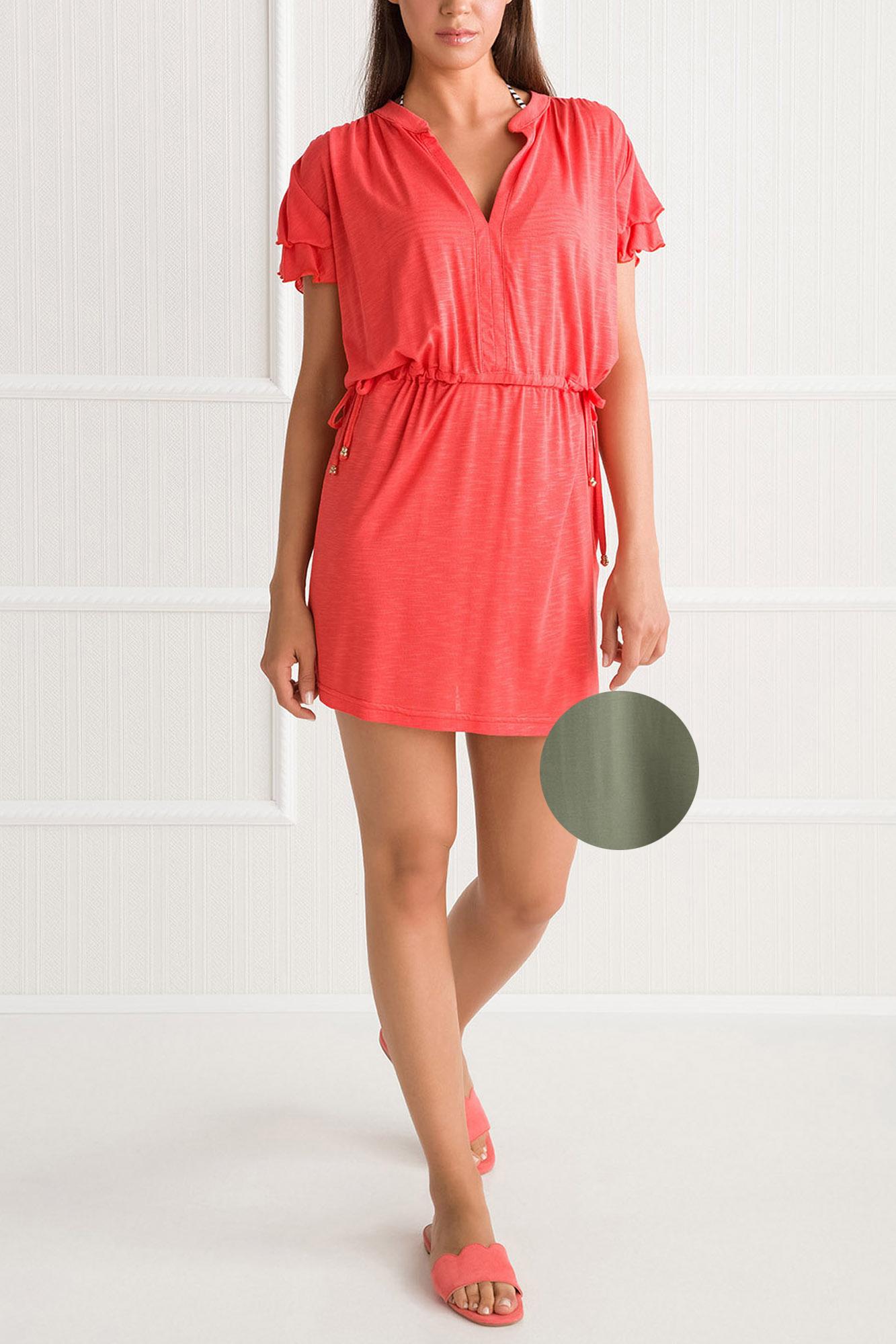 0a7c93ead520 Γυναικείο καφτάνι Vamp - Beachwear Λαδί - Viscose