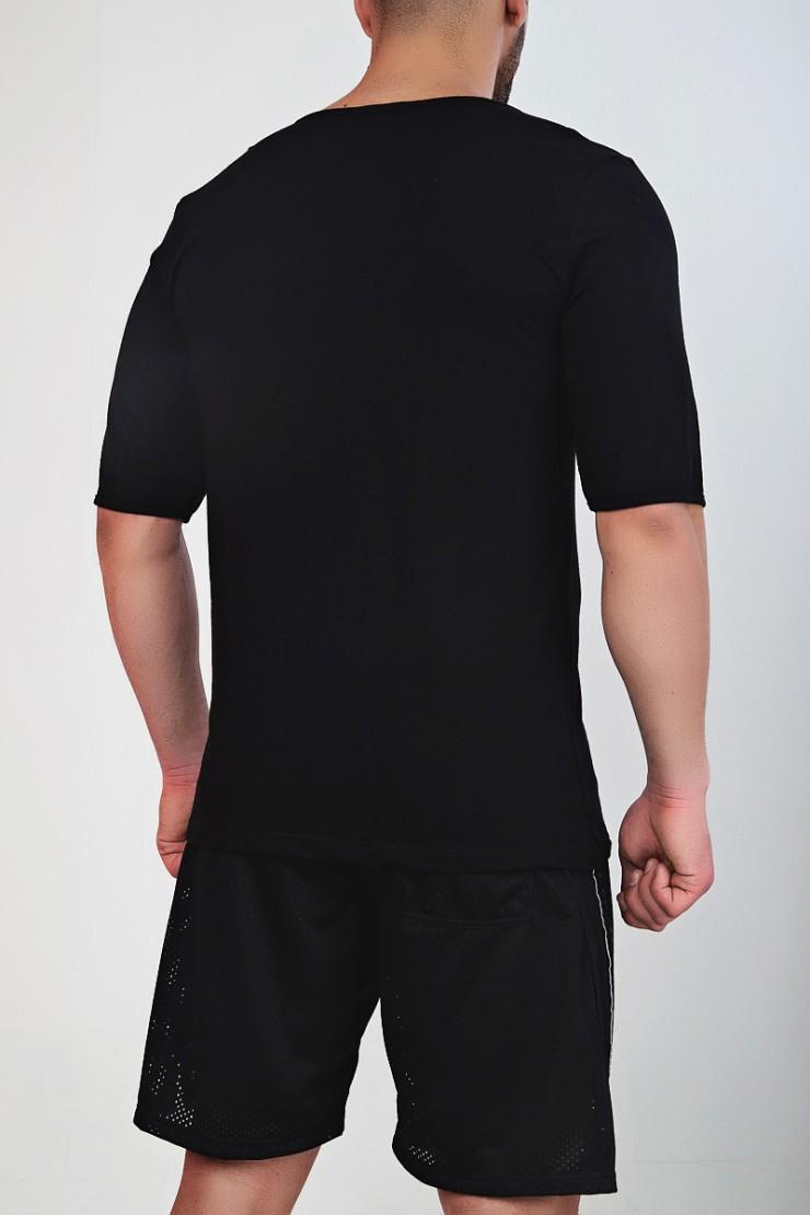 Ανδρικό T-Shirt  MED Henry With Buttons - Mαύρο - Κοντό Μανίκι