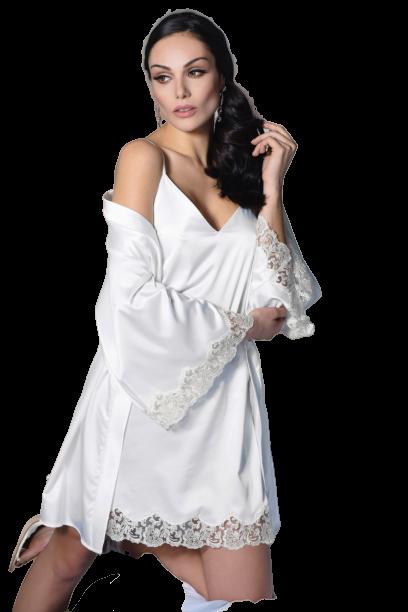 Νυφική ρόμπα Miss Rosy - Σατέν Ιβουάρ - Δαντέλα