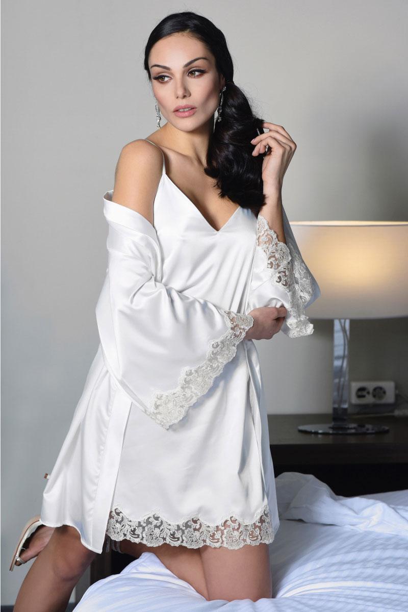 Νυφικό σετ νυχτικό & ρόμπα Miss Rosy - Σατέν Ιβουάρ - Δαντέλα