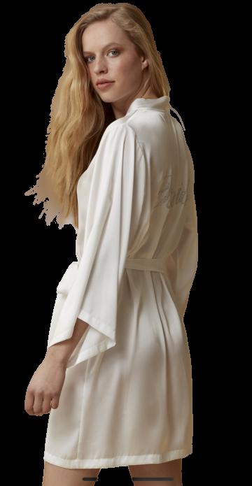 Νυφική ρόμπα Bride Catherines - Σατέν Ιβουάρ - Δαντέλα
