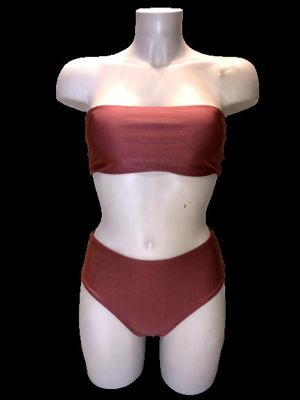 Γυναικείο μαγιό σετ - Μαγιό Μπικίνι Strapless Ψηλόμεσο - Bronze