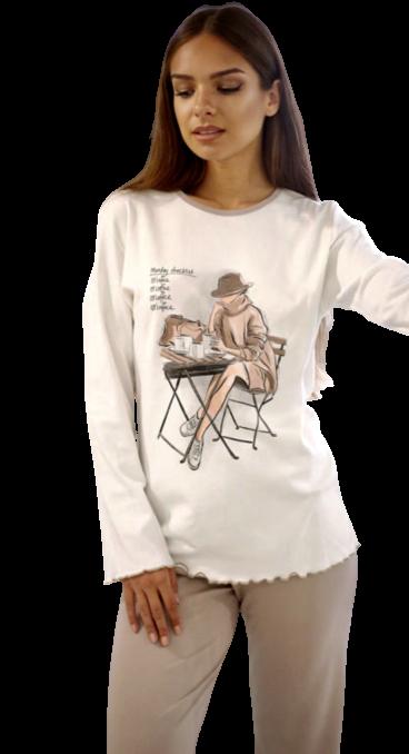 Γυναικεία πυτζάμα Happy Family - Λευκό - Μακρύ Παντελόνι